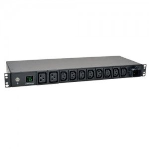 3.8kW Single Phase Metered PDU 200 220 230 240V Outlets 8 C13 2 C19 IEC 309 16A Blue 8ft Cord 1U Rack Mount