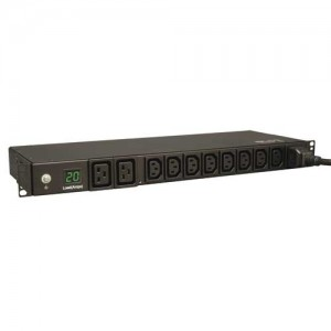 Metered PDU 16A 20A 200V 240V 1U C19 C13 Outlets C20 Input NEMA L6 20P Adapter Single Phase